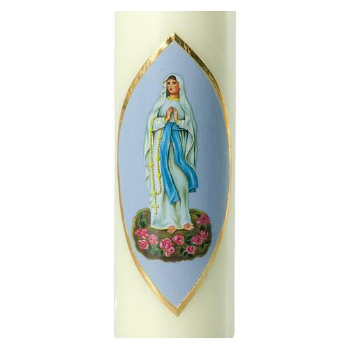 Kerze Unsere Liebe Frau in Lourdes himmelblauer Hintergrund, 220x60 mm 2