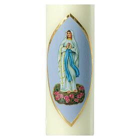 Bougie Notre-Dame de Lourdes fond bleu clair 220x60 mm