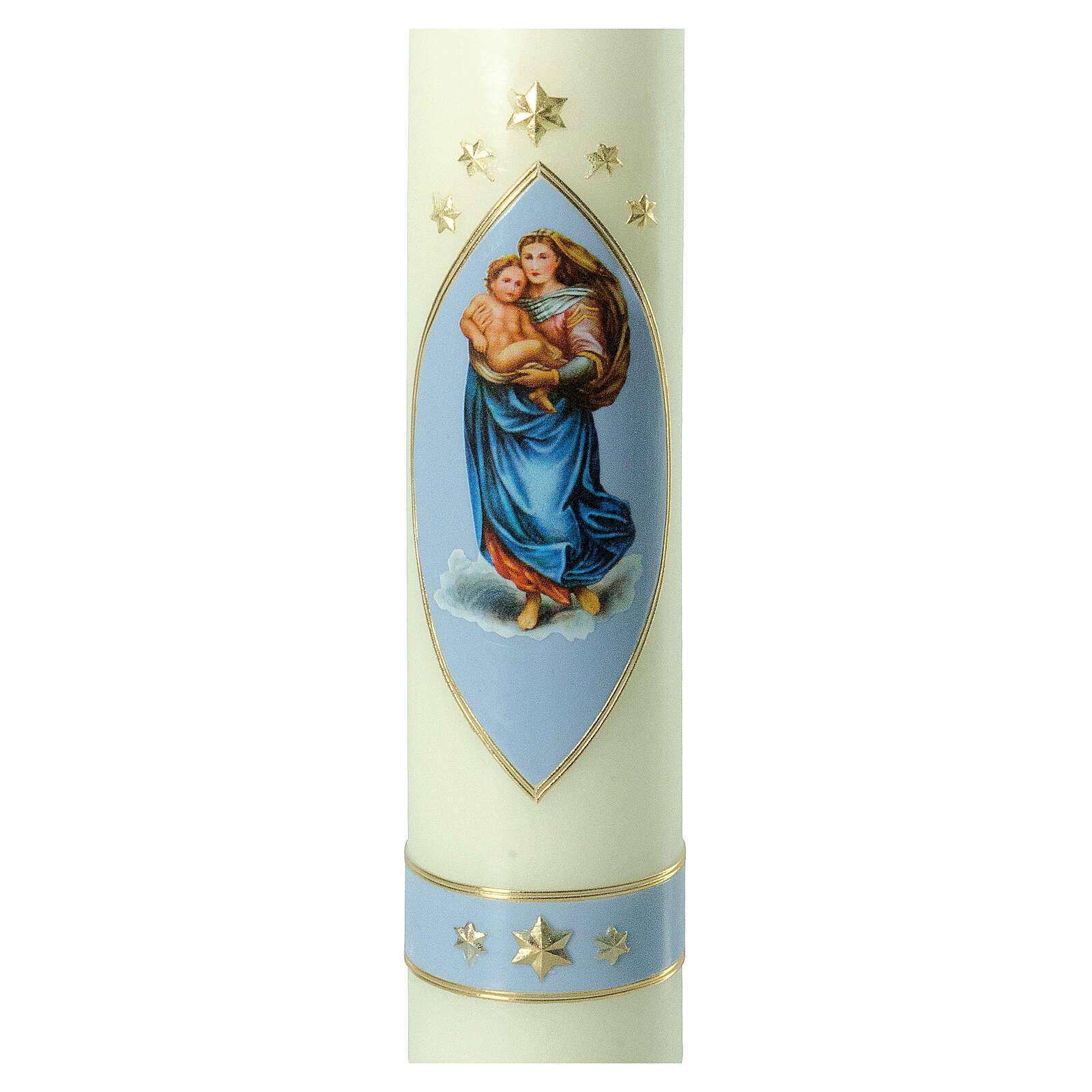 Kerze Sixtinische Madonna blau gold, 300x60 mm 3