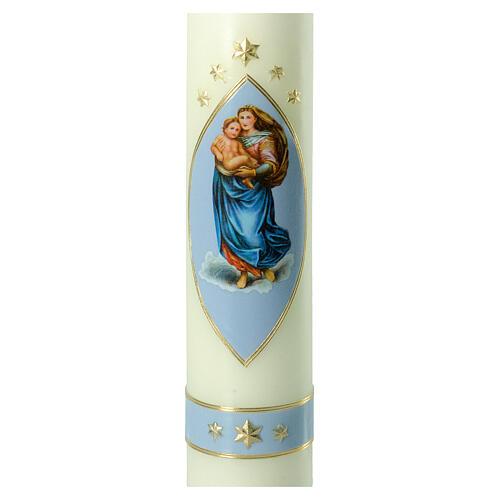 Kerze Sixtinische Madonna blau gold, 300x60 mm 2