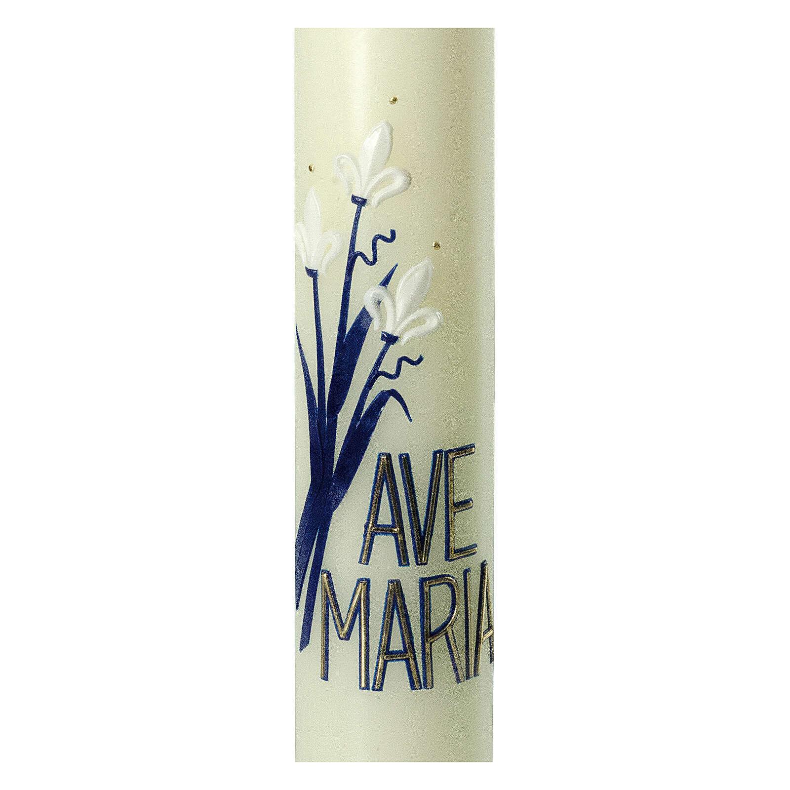Kerze Ave Maria mit weißen Lilien, 400x60 mm 3