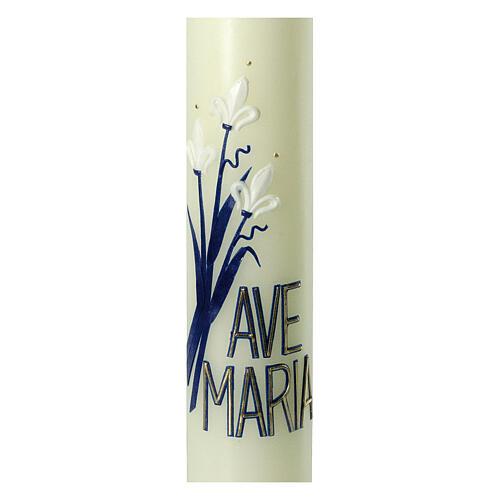 Kerze Ave Maria mit weißen Lilien, 400x60 mm 2