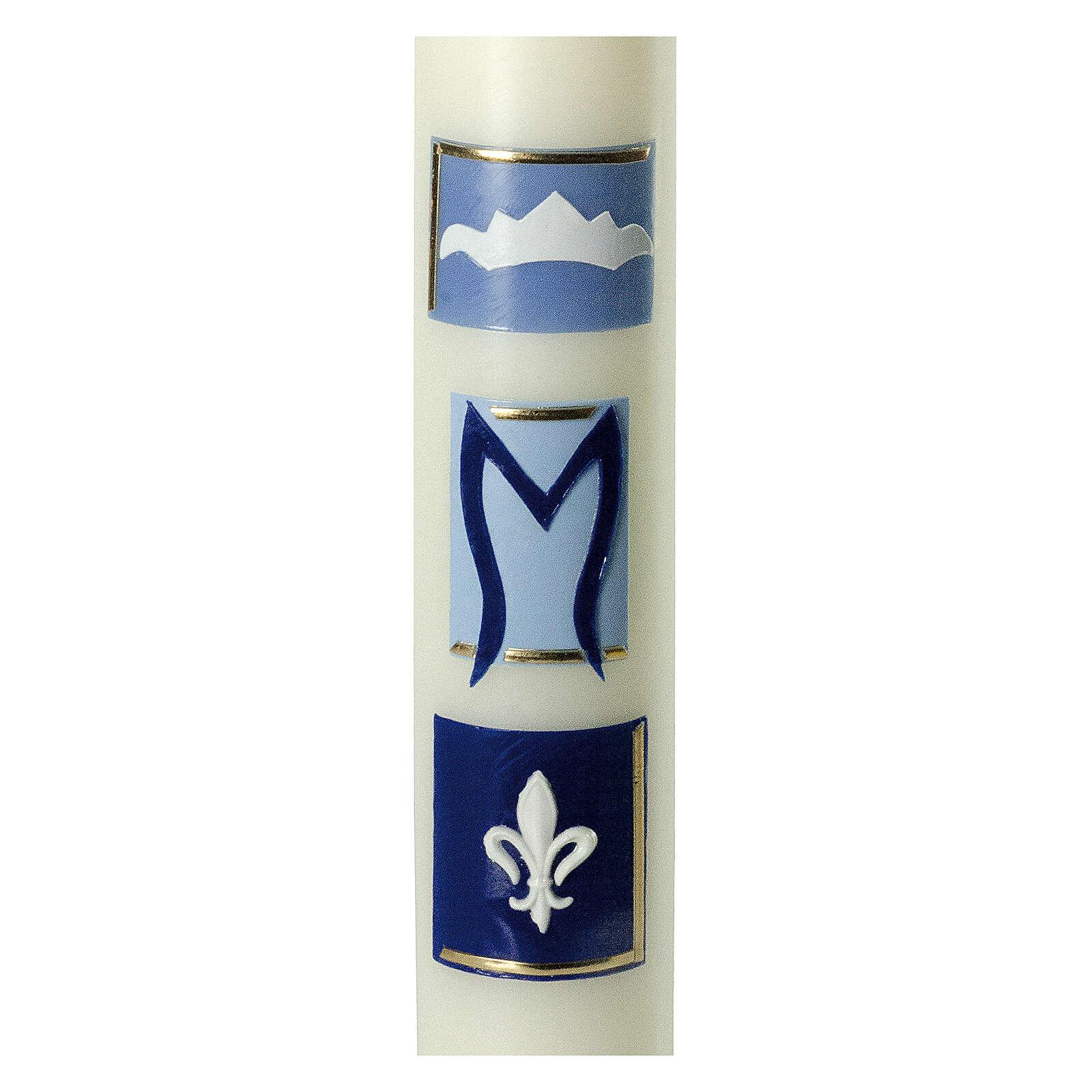 Kerze Marienmonogramm mit blauen Details, 400x60 mm 3