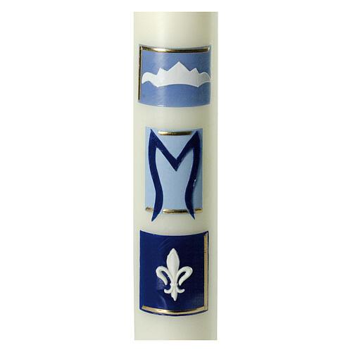 Kerze Marienmonogramm mit blauen Details, 400x60 mm 2