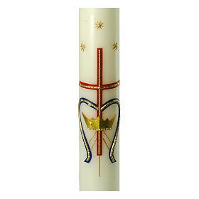 Kerze Marienmonogram mit goldenem Kreuz, 600x60 mm s2
