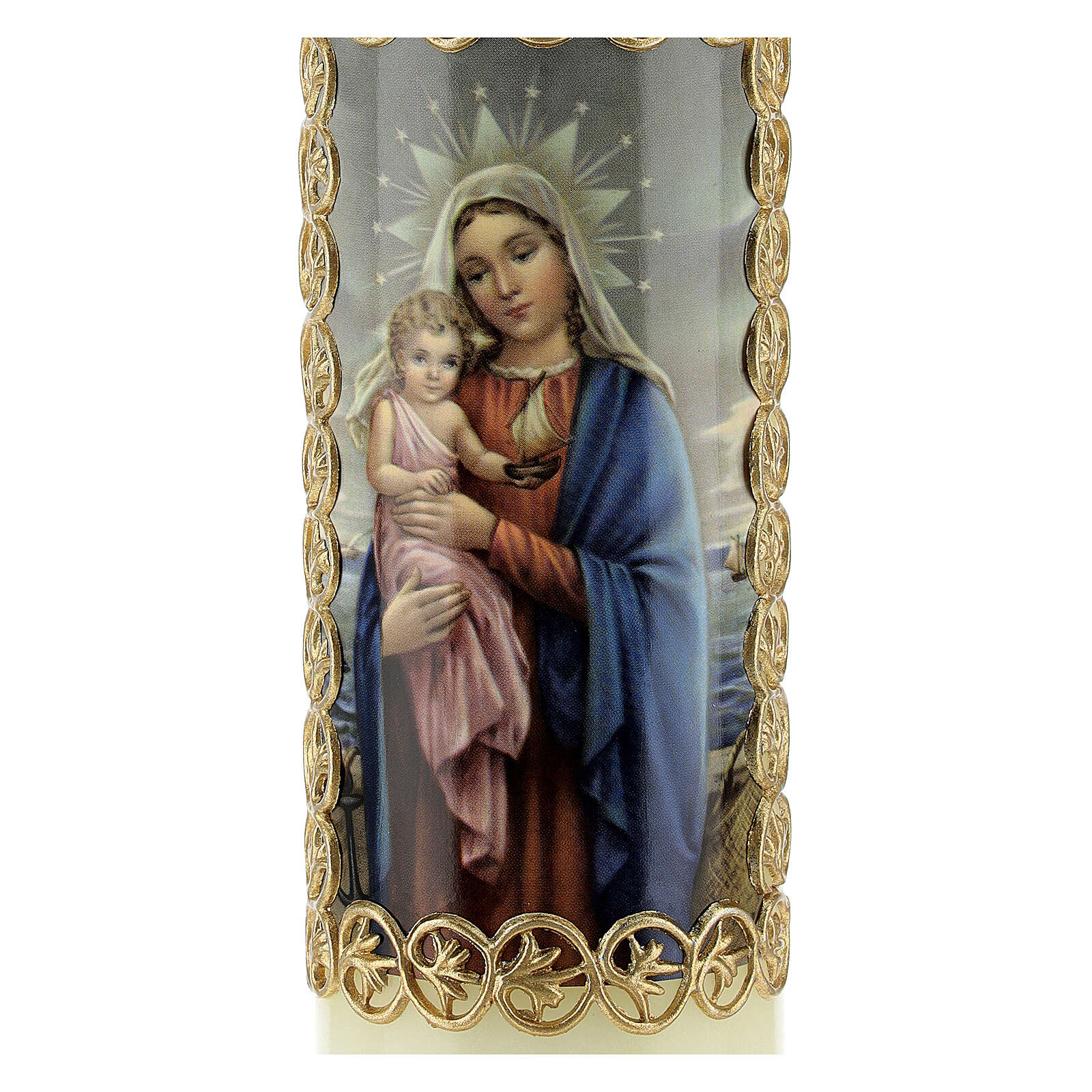 Kerze Maria und Jesuskind mit Rahmen, 165x50 mm 3
