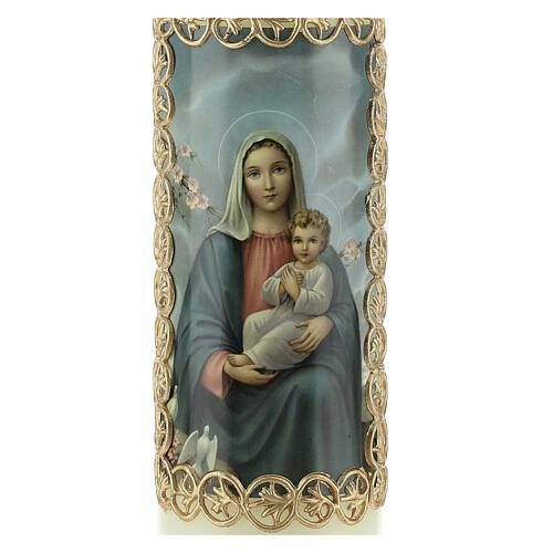 Kerze Maria und Jesuskind mit goldenem Rahmen, 165x50 mm 2