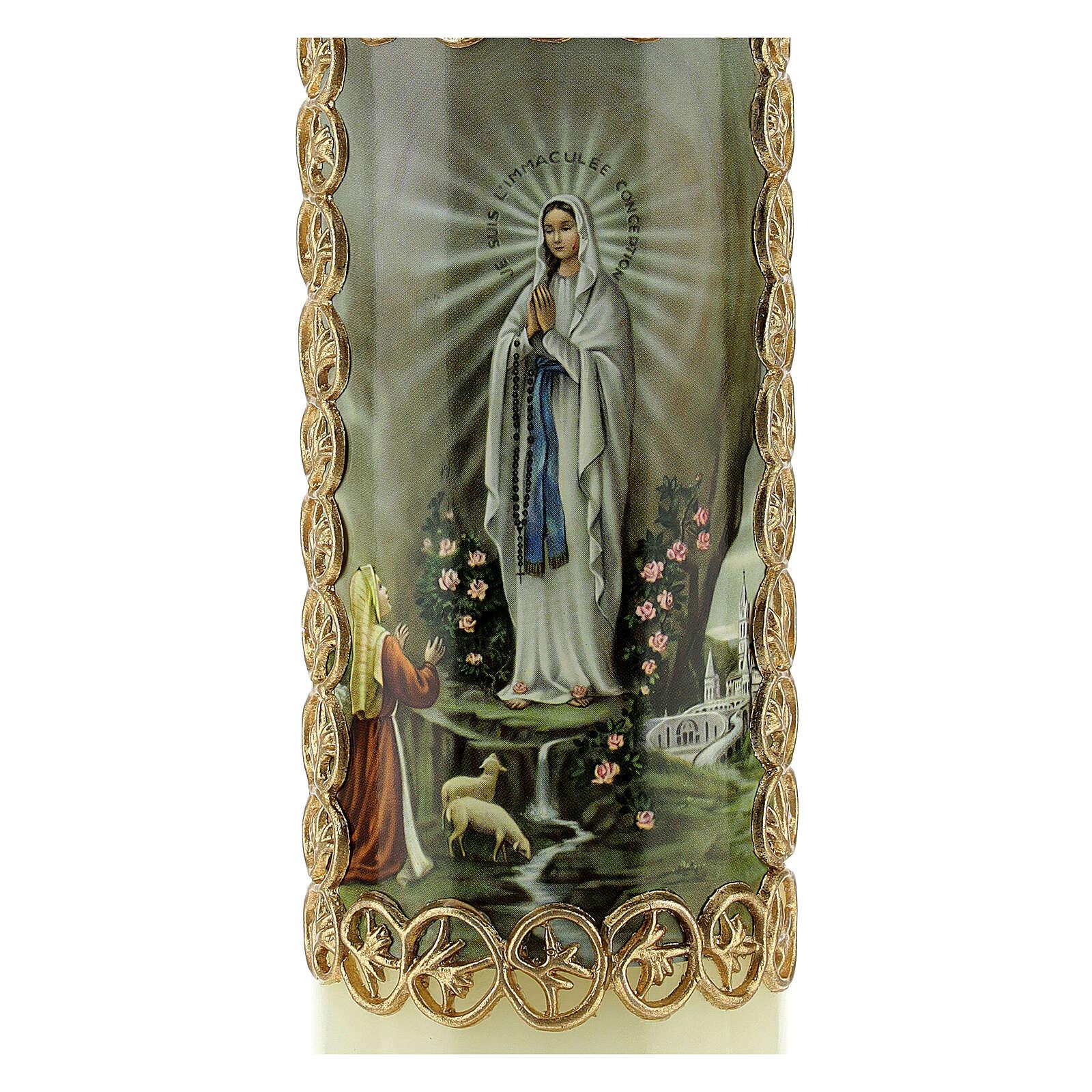 Kerze Unsere Liebe Frau in Lourdes Marienerscheinung, 165x50 mm 3