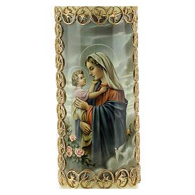 Kerze Maria mit Jesuskind goldener Rahmen, 165x50 mm s2