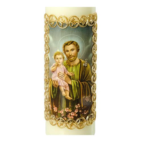 Kerze Josef mit dem Jesuskind, 165x50 mm 2