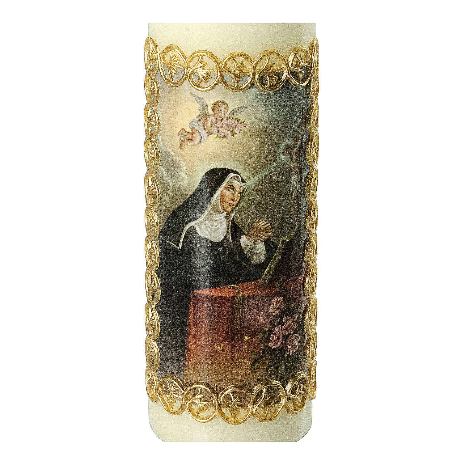 Kerze Rita von Cascia mit goldenem Rahmen, 165x50 mm 3