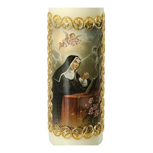 Kerze Rita von Cascia mit goldenem Rahmen, 165x50 mm 2