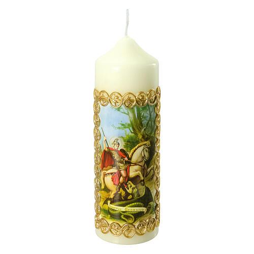 Kerze Heiliger Georg Drachen, 165x50 mm 1