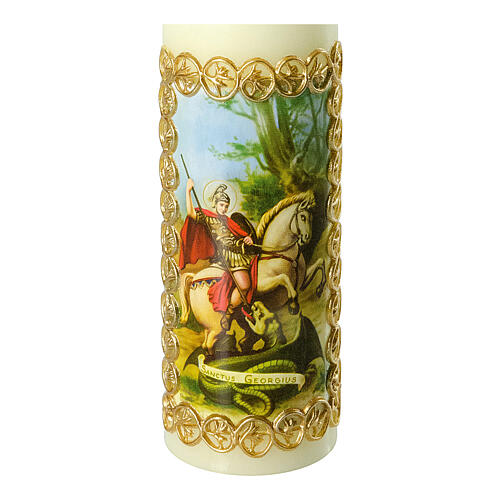 Kerze Heiliger Georg Drachen, 165x50 mm 2