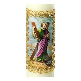 Kerze Heiliger Andreas goldener Rahmen, 165x50 mm s2