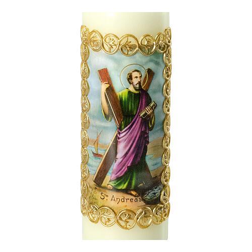 Kerze Heiliger Andreas goldener Rahmen, 165x50 mm 2