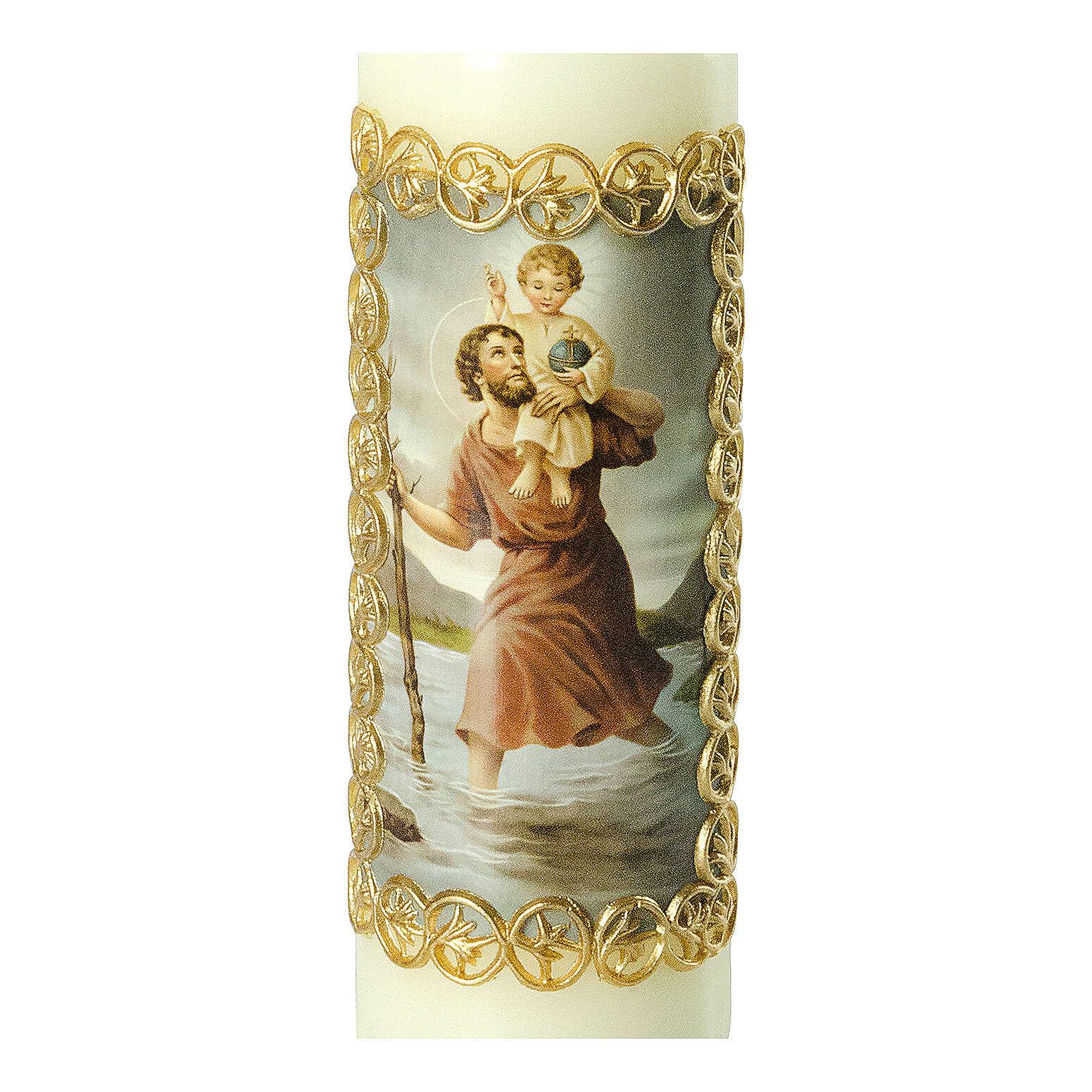 Kerze Heiliger Christophorus mit Jesuskind, 165x50 mm 3