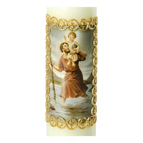 Kerze Heiliger Christophorus mit Jesuskind, 165x50 mm 2