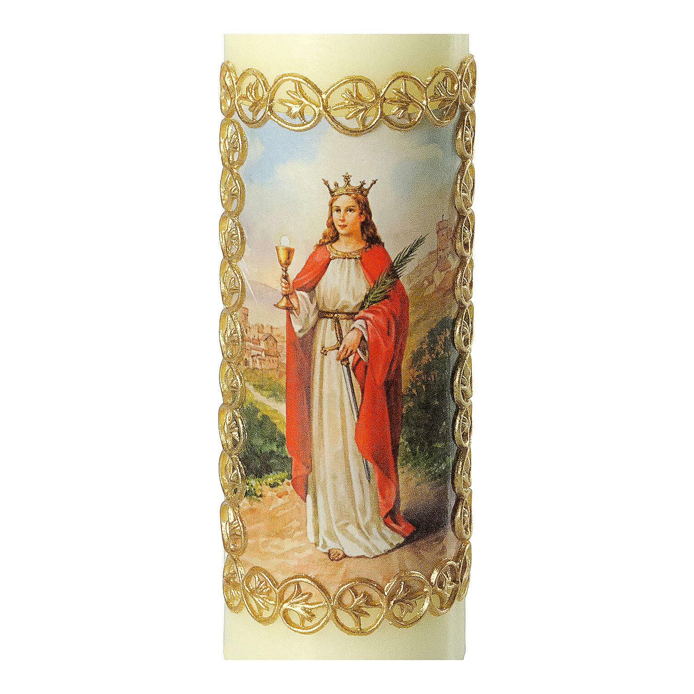 Kerze Barbara von Nikomedien mit goldenen Details, 165x50 mm 3
