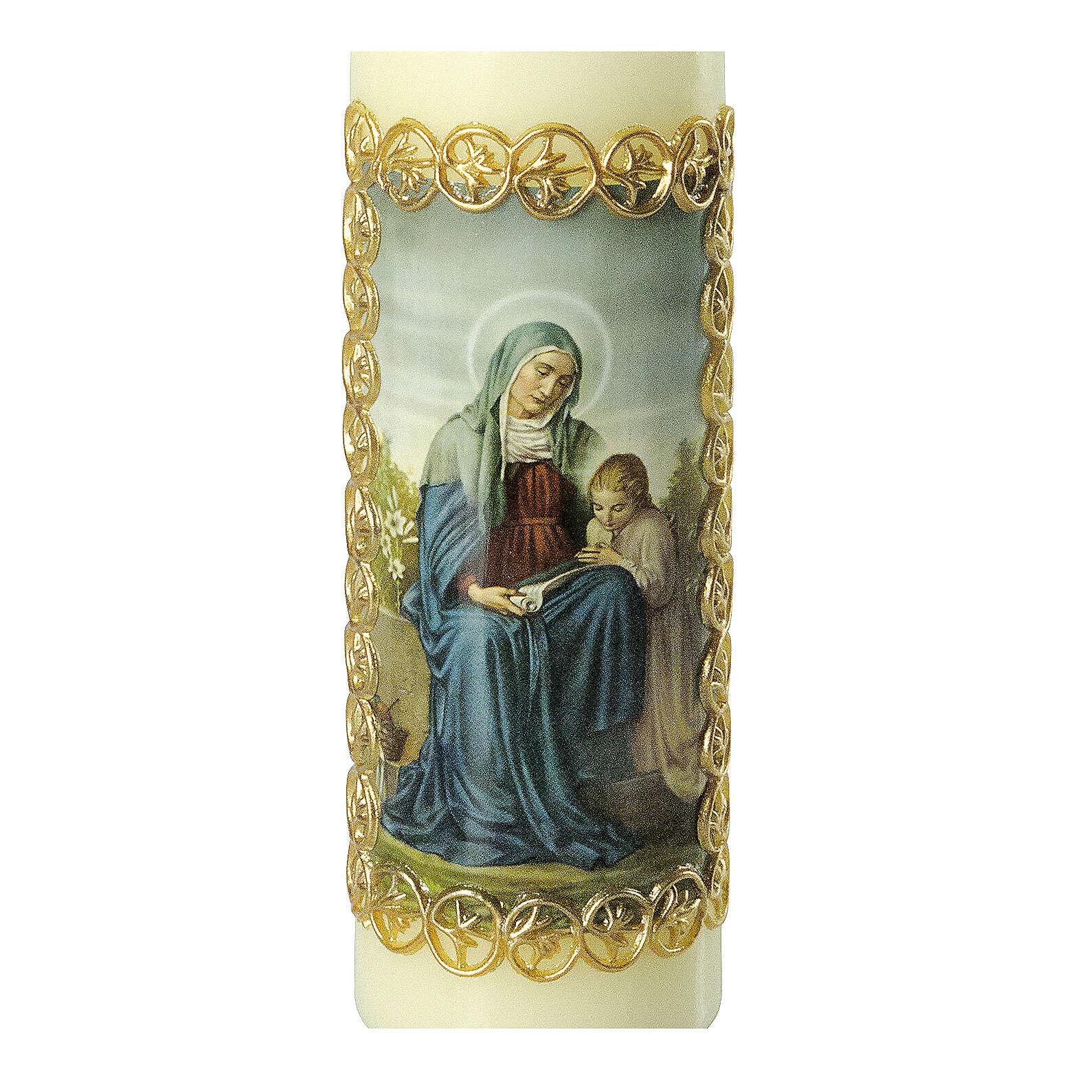 Kerze Heilige Anna goldener Rahmen, 165x50 mm 3