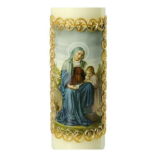 Kerze Heilige Anna goldener Rahmen, 165x50 mm 2