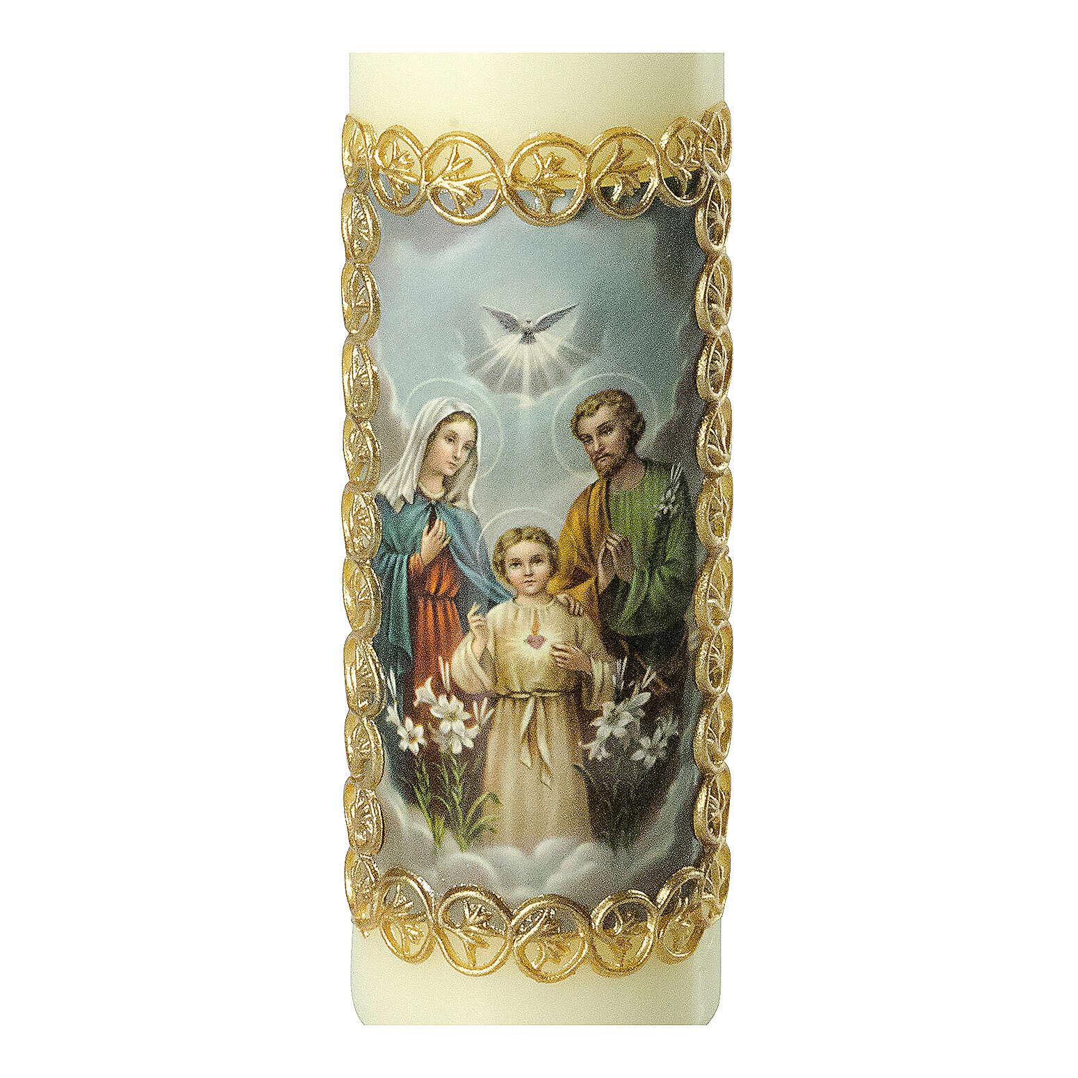 Kerze Heilige Familie goldener Rahmen, 165x50 mm 3