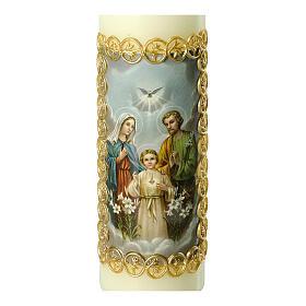Kerze Heilige Familie goldener Rahmen, 165x50 mm s2