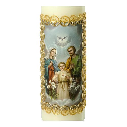 Kerze Heilige Familie goldener Rahmen, 165x50 mm 2