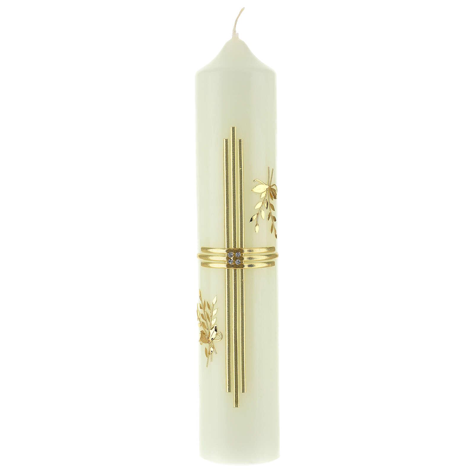 Kerze mit goldenem Kreuz und Getreide, 300x60 mm 3