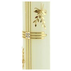 Kerze mit goldenem Kreuz und Getreide, 300x60 mm s2
