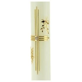 Kerze mit goldenem Kreuz und Getreide, 300x60 mm s3