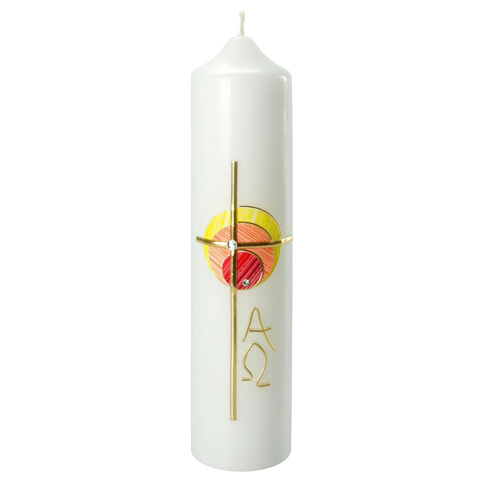 Kerze mit bunten Kreisen und Kreuz, 265x60 mm 3
