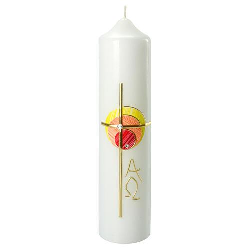 Kerze mit bunten Kreisen und Kreuz, 265x60 mm 1