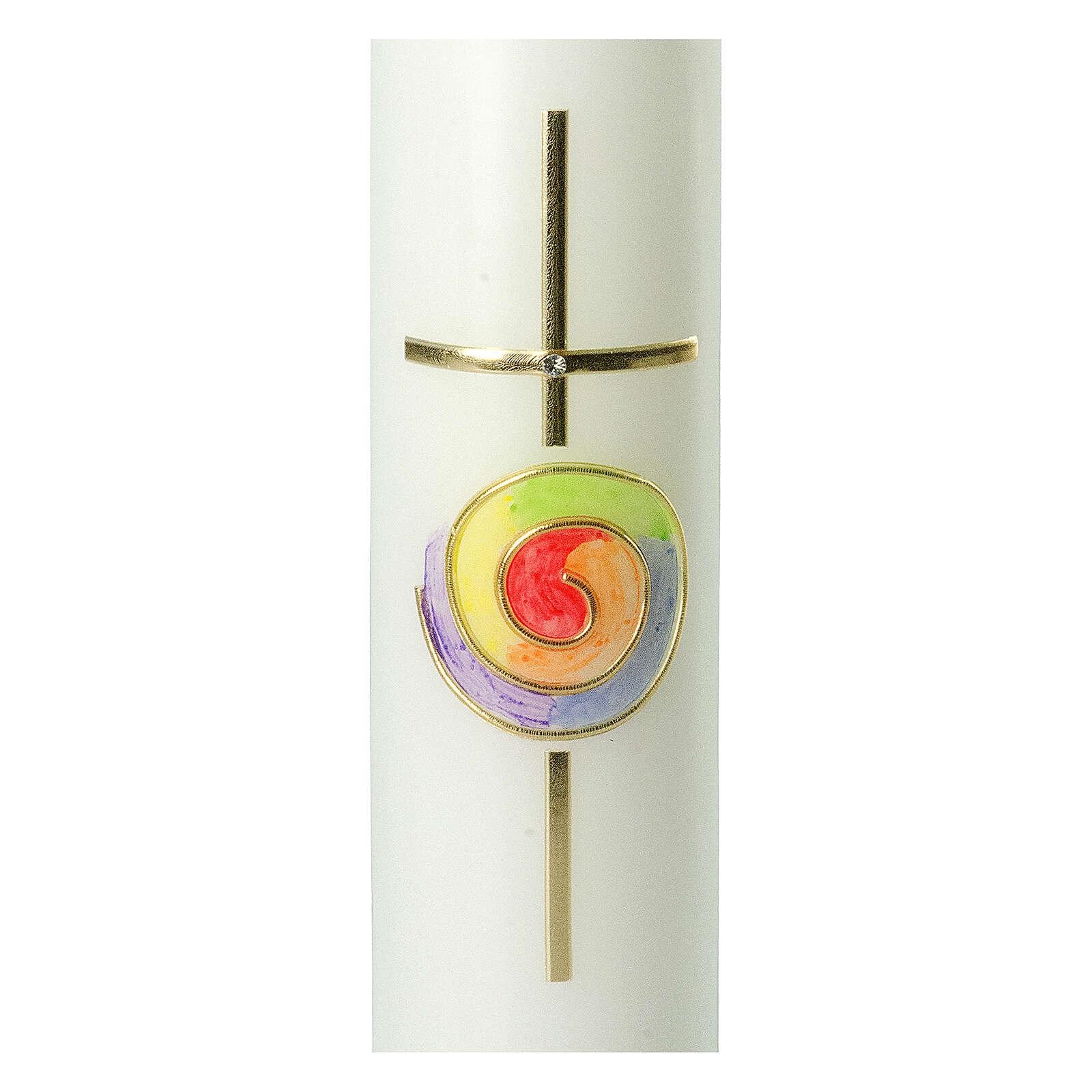 Kerze mit regenbogenfarbenem Kreis und Kreuz, 265x60 mm 3