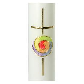 Kerze mit regenbogenfarbenem Kreis und Kreuz, 265x60 mm s2