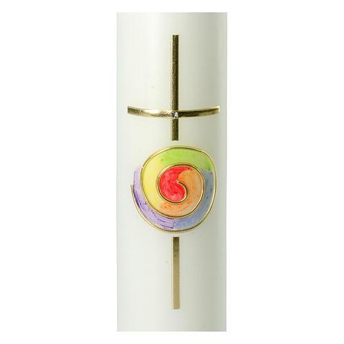 Kerze mit regenbogenfarbenem Kreis und Kreuz, 265x60 mm 2