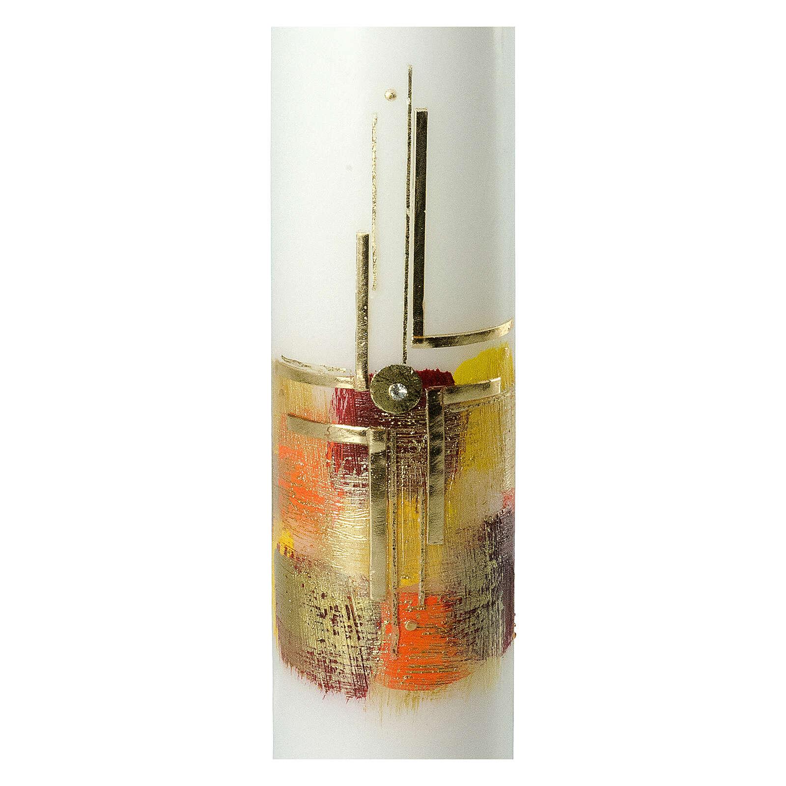 Kerze mit goldenem Kreuz und buntem Hintergrund, 265x60 mm 3