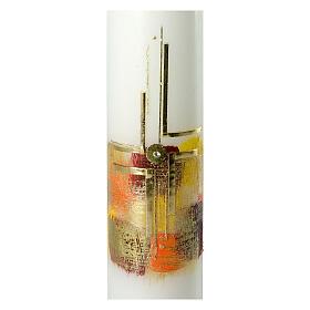 Kerze mit goldenem Kreuz und buntem Hintergrund, 265x60 mm s2