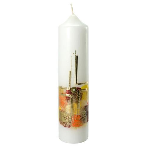 Kerze mit goldenem Kreuz und buntem Hintergrund, 265x60 mm 1