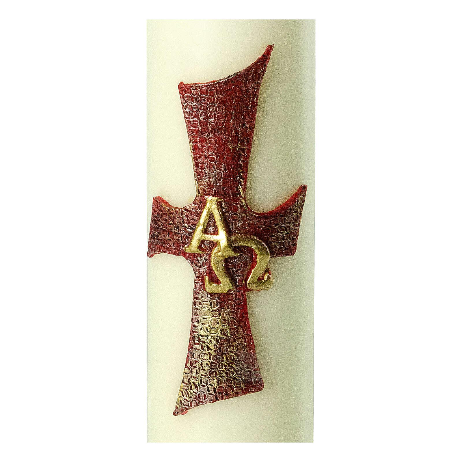 Kerze mit Kreuz Alfa Omega, 220x60 mm 3