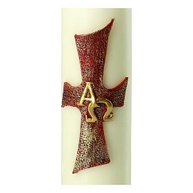 Kerze mit Kreuz Alfa Omega, 220x60 mm s2