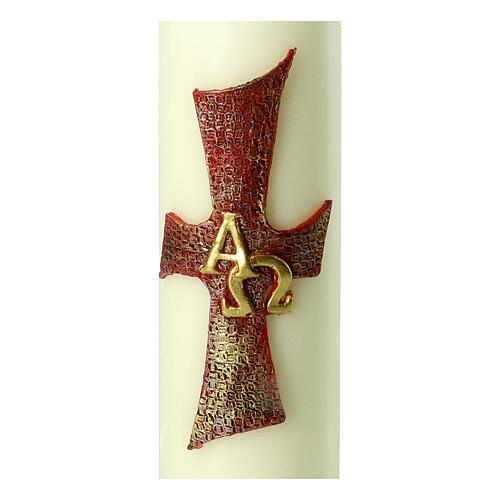 Kerze mit Kreuz Alfa Omega, 220x60 mm 2