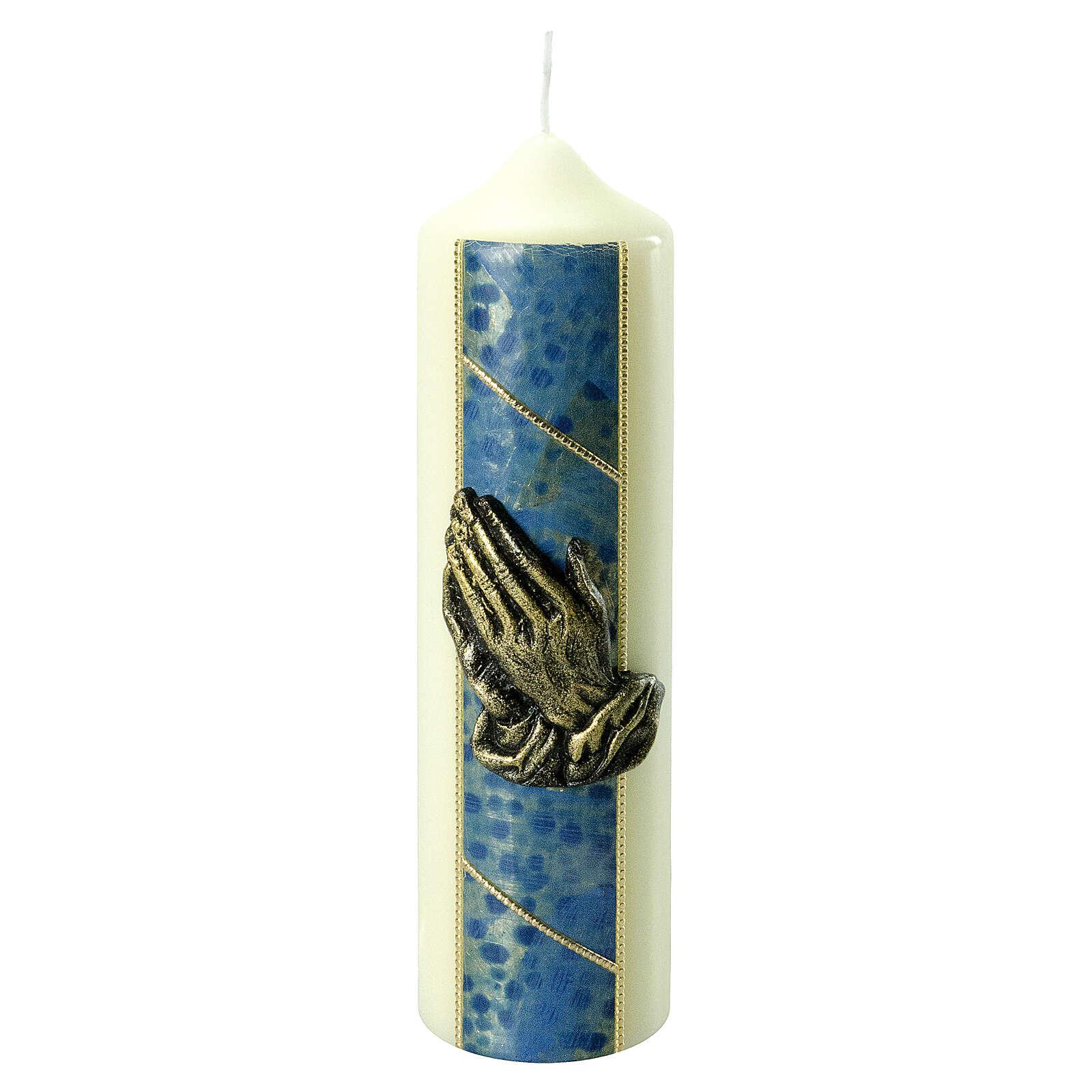 Kerze mit betenden Händen und goldenen und blauen Details, 220x60 mm 3
