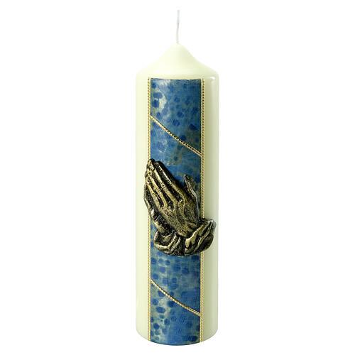 Kerze mit betenden Händen und goldenen und blauen Details, 220x60 mm 1