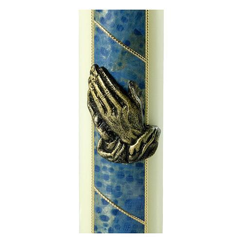 Kerze mit betenden Händen und goldenen und blauen Details, 220x60 mm 2