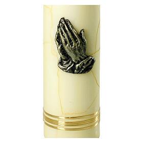 Kerze mit betenden Händen und goldenen und bronzefarbenen Details, 275x70 mm s2