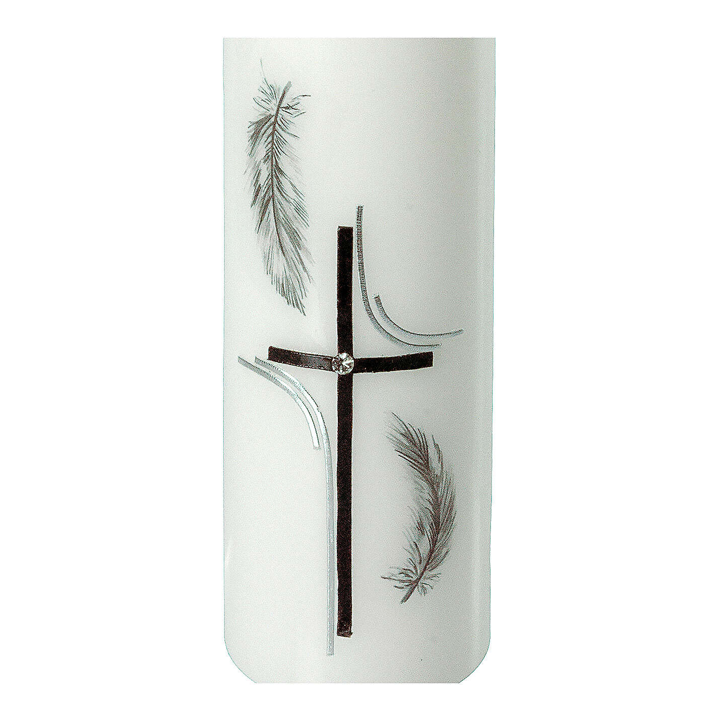 Grabkerze mit schwarzen Federn und Kreuz, 165x50 mm 3
