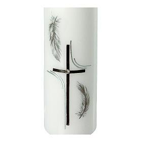 Grabkerze mit schwarzen Federn und Kreuz, 165x50 mm s2