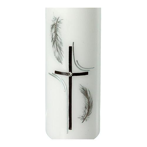 Grabkerze mit schwarzen Federn und Kreuz, 165x50 mm 2