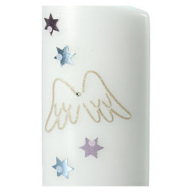 Candela ovale ali d'angelo stelle 180x90 mm s2